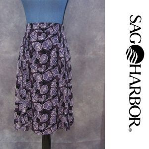 NWT Sag Harbor Woman Purple Leaf Print Skirt Sz 1X